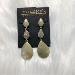 Gold and diamond tear drop earrings Francesca's